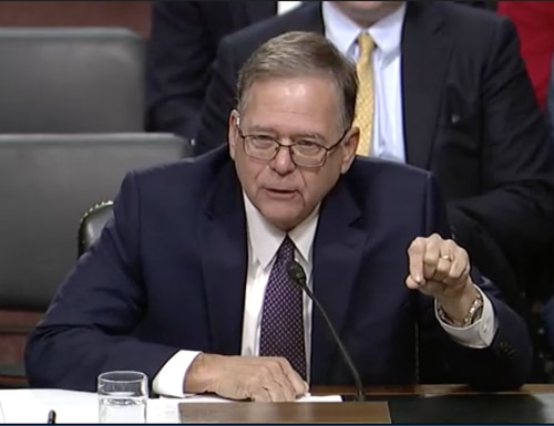 Charles A. Williams, a retired Navy admiral with 40 years of real estate experience, has been nominated to be in charge of Navy installations. (Screen grab/Senate Armed Services Committee)