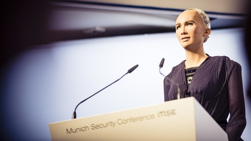 Robot Sophia kicks off a session at the Munich Security Conference on artificial intelligence and modern conflict.(MSC)