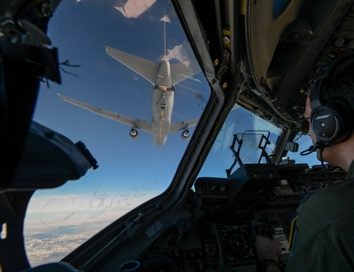 Capt. Wade Gallup, 7th Airlift Squadron pilot, approaches a KC-46 Pegasus during refueling training over central Wash., Jan. 30, 2019. (A1C Sara Hoerichs/U.S. Air Force)