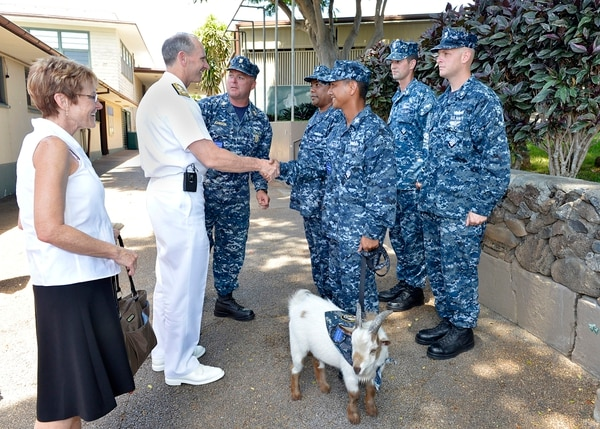 130812-N-ZI511-998 PEARL HARBOR (Aug. 12, 2013) Chief of Naval Operations (CNO) Adm. Jonathan Greenert greets chief petty officer (CPO) selectees assigned to various commands at Joint Base Pearl Harbor-Hickam and Charlie the goat, representing the CPO organization. Adm. Greenert held an all-hands call at Bloch Arena at Joint Base Pearl Harbor-Hickam to speak to Sailors about the current status of the Navy and answer any questions they have about the future of the fleet. (U.S. Navy photo by Mass Communication Specialist Chief Julianne F. Metzger/Released)