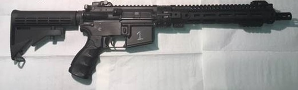 The U.S. Air Force's new GAU-5A Aircrew Self Defense Weapon, fully assembled. (Air Combat Command)