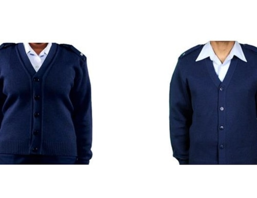 The Air Force cardigan differs vastly from its knit pullover. (Air Force)