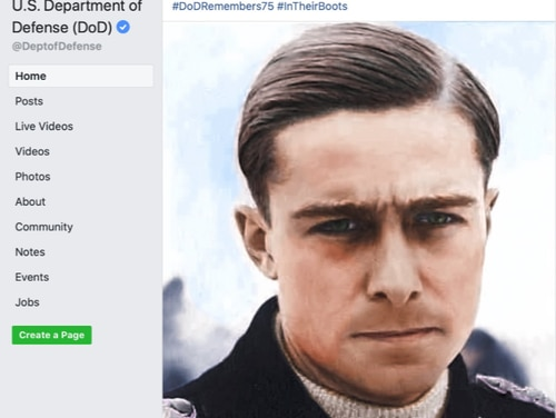 The Army and DoD posted an image of Nazi war criminal Joachim Peiper on social media to commemorate the 75th anniversary of the Battle of the Bulge. (Screenshot of social media post)