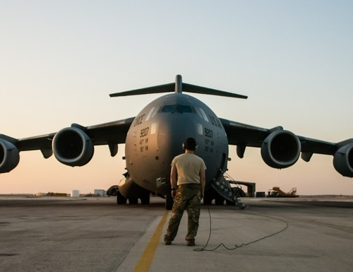 A C-17 Globemaster III is prepared for departure at an undisclosed location in Southwest Asia after transporting cargo between U.S. Africa Command and U.S. Central Command, Aug. 28, 2018. The U.K. wants to spend $400 million on maintenance for its C-17 fleet. (Tech. Sgt. Ted Nichols/U.S. Air Force)