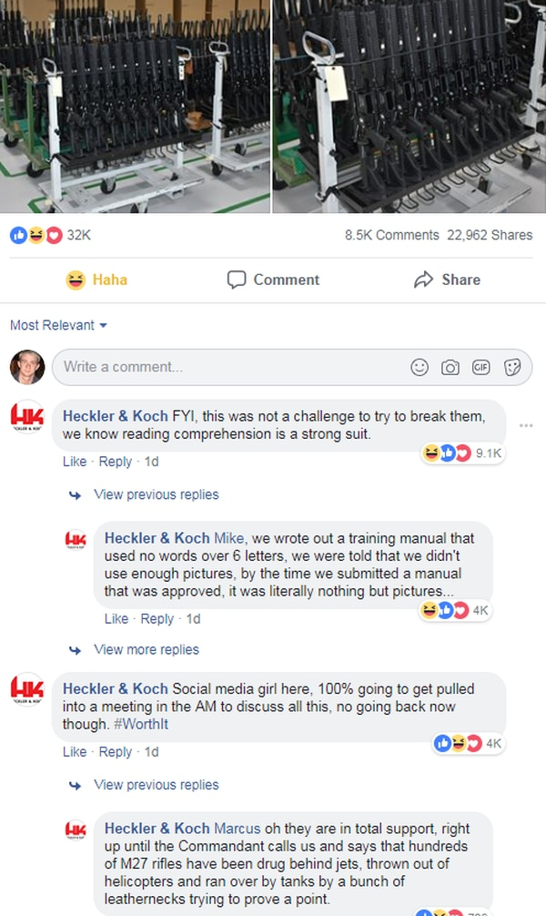 Heckler & Koch, the makers of the Corps' new M27 rifle, teased the Marines in a series of posts to its Facebook page. (Screenshot of Heckler & Koch's post on Facebook)
