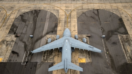 An Air Force C-17 Globemaster III sits on the flightline at Joint Base Charleston, S.C., in 2018. (Staff Sgt. Ryan Callaghan/Air Force)