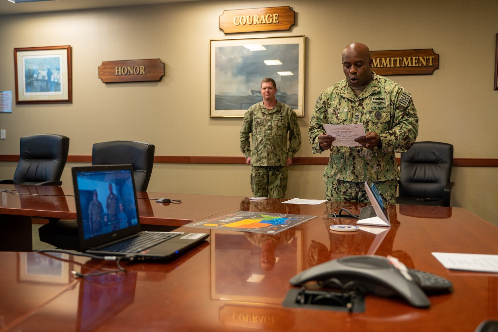 Command Master Chief Tracy Hunt of Navy Reserve Forces Command attends a virtual frocking ceremony. The headquarters oversees about 60,000 sailors. (Petty Officer 1st Class Arthurgwain Marquez/U.S. Navy)