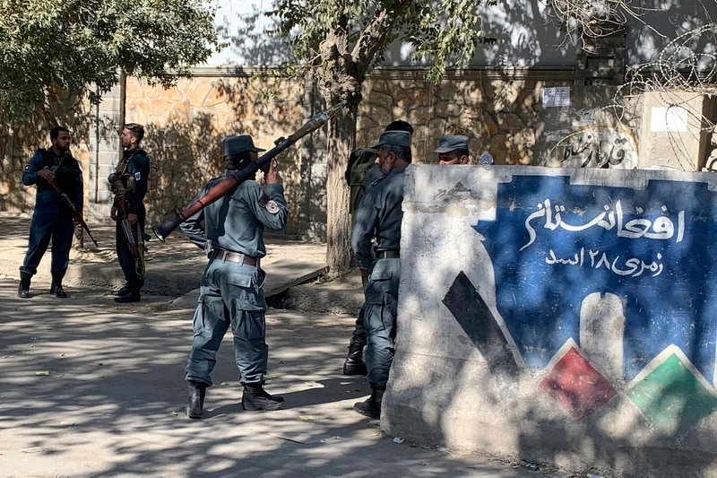 Afghan police arrive at the site of an attack at Kabul University in Kabul, Afghanistan, Monday, Nov. 2, 2020. (Rahmat Gul/AP)