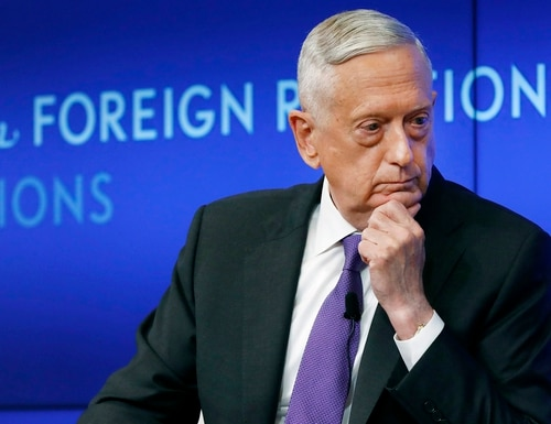 In this Sept. 3, 2019, file photo, former U.S. Secretary of Defense Jim Mattis listens to a question during his appearance at the Council on Foreign Relations in New York. (Richard Drew/AP)