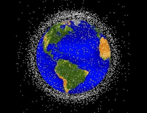 National security experts worry that an older satellite, one of thousands depicted above in this rendering of space debris, could be used as part of a cyber attack to harm U.S. satellites. (NASA image)