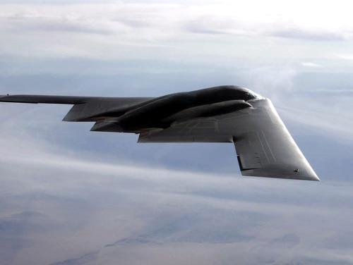 The nuclear-capable B-2 flies over the Utah Testing and Training Range at Hill Air Force Base, Utah. (Bobbie Garcia)