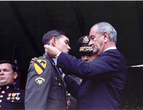 Army medic Charles C. Hagemeister was awarded the Medal of Honor for his actions during the Vietnam War by President Lyndon B. Johnson, May 14, 1968, in Washington, D.C. (Congressional Medal of Honor Society)