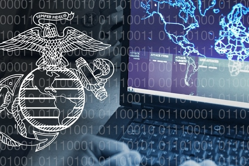 """The Marine Corps is injecting capabilities to take advantage of the often referred to """"information"""" domain, which encompasses cyberspace, the electromagnetic spectrum, social media and everything in between. (Illustration by Jennifer Sevier)"""