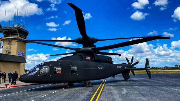 Sikorsky's and Boeing's Defiant sits on a tarmac in West Palm Beach, Fla. (Jeff Martin/Staff)