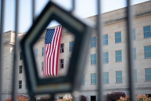 Unfurled at dawn, an American flag hangs over the Pentagon on Sept. 11, 2019. (Lisa Ferdinando/Department of Defense)