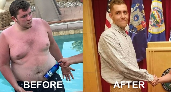Over the course of the eight months, Nelson's drive and motivation to earn the title Marine had pushed him to shed almost 150 pounds.