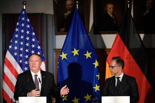 German Foreign Minister Heiko Maas, right, and U.S. Secretary of State Mike Pompeo, left, brief the media during a news conference in Leipzig, Germany, Thursday, Nov. 7, 2019. (Jens Meyer/AP)