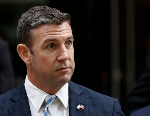 This Dec. 3, 2019, photo shows California Republican Rep. Duncan Hunter leaveing federal court in San Diego. Hunter submitted his resignation Tuesday, Jan. 7, 2020, effective Jan. 13, after pleading guilty to a corruption charge, leaving one of the GOP's few remaining House seats in heavily Democratic California. Hunter's departure ends his family's political dynasty in which he and his father, Duncan L. Hunter, represented the San Diego County district for nearly 30 years. (Gregory Bull/AP)