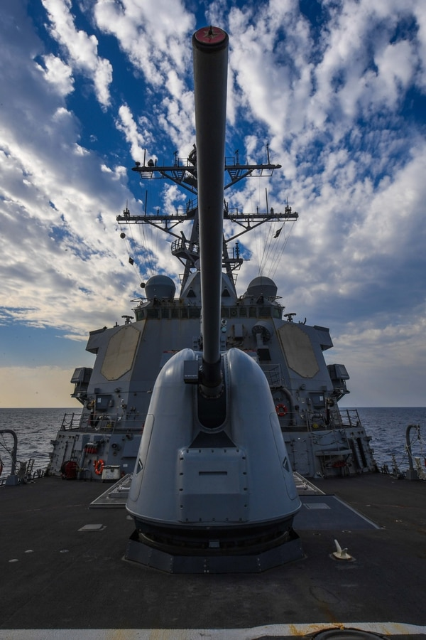 The Arleigh Burke-class guided-missile destroyer USS Donald Cook transits the Mediterranean Sea during exercise Dogu Akdeniz 2017. When President Trump announced the possibility of U.S. airstrikes to retaliate against an April Syrian chemical weapon attack, the Donald Cook was the only destroyer in the region. It turns out it was there as a ploy. (MC Theron J. Godbold/Navy)