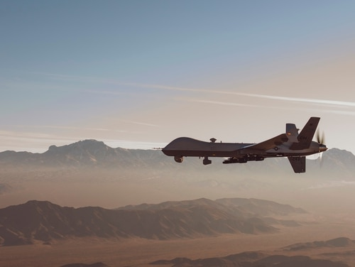 An MQ-9 Reaper flies during training mission over the Nevada Test and Training Range on Jan. 14, 2020. (Airman 1st Class William Rio Rosado/U.S. Air Force)