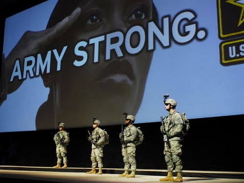 Then-Army Secretary Francis Harvey unveiled the Army Strong campaign at the 2006 Association of the U.S. Army Annual Meeting in Washington, D.C. The service is working on its replacement, according to the sergeant major of the Army. (Wikimedia Commons)