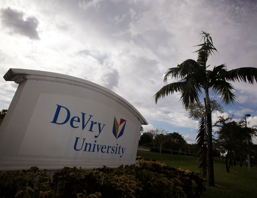 This Nov. 24, 2009 photo, shows the entrance to the DeVry University in Miramar, Fla. Students aren't the only ones benefiting from the billions of new dollars Washington is spending on college aid for the poor. An Associated Press analysis shows surging proportions of both low-income students and the recently boosted government money that follows them are ending up at for-profit schools, from local career colleges to giant publicly traded chains such as the University of Phoenix, Kaplan and Devry. (AP Photo/J Pat Carter)