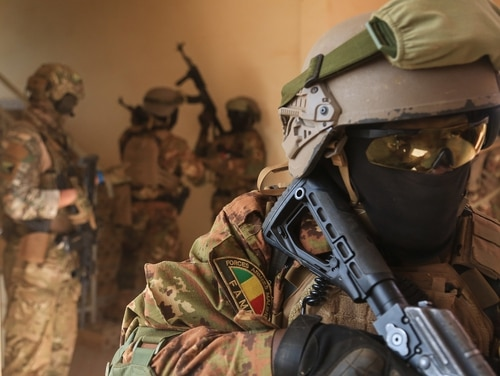 Malian special forces soldiers tactically clear rooms near base camp Loumbila in Burkina Faso on Feb. 25, 2019, as part of the Flintlock 2019 exercise. (Spc. Peter Seidler/Army)