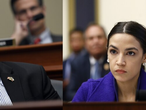 Reps. Dan Crenshaw, R-Texas, left, and Alexandria Ocasio-Cortez, D-N.Y., right, held events this week to discuss looming changes in Veterans Affairs health care policy. (AP photos)