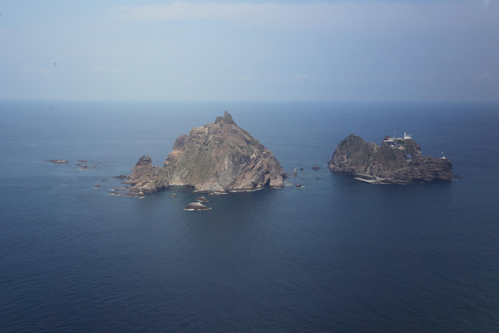 The disputer remote islands, known as Dokdo in South Korea and Takeshima in Japan, reside in the Sea of Japan (East Sea). (Dong-a Ilbo/AFP via Getty Images)