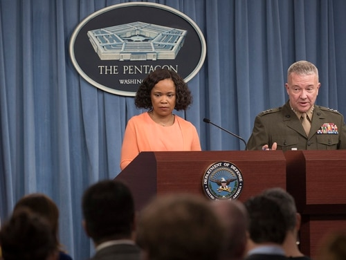 Chief Pentagon spokesperson Dana White and Marine Corps Lt. Gen. Kenneth McKenzie Jr., director of the Joint Staff, brief reporters at the Pentagon, April 19, 2018. McKenzie has been selected to become commander of U.S. Central Command. (Air Force Tech. Sgt. Vernon Young Jr./DoD)