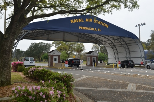 The main gate at Naval Air Station Pensacola is seen March 16, 2016, in Pensacola, Fla. New security measures have been announced for foreign visitors to the installations. (Patrick Nichols/Navy)