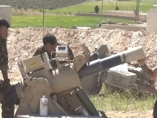 An XM905 Advanced Mortar Protection System being set up in Manbij, Syria. (Kurdistan 24)