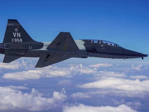A student pilot and instructor pilot were killed in a crash while trying to land a T-38C Talon trainer aircraft, alongside another T-38, at Vance Air Force Base last November. (Air Force)