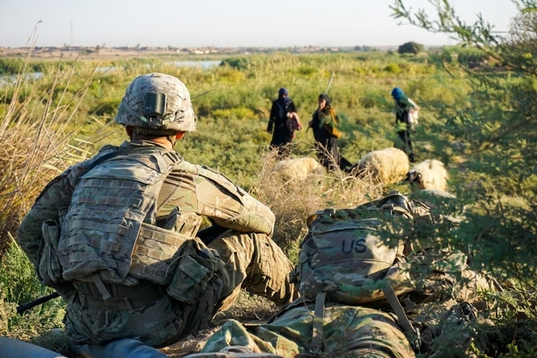 U.S. soldiers assigned to the 3rd Squadron, 3rd Cavalry Regiment, conduct a routine patrol and observe local shepherds along the banks of the Euphrates River, Iraq, Sept. 29, 2018. (Army)