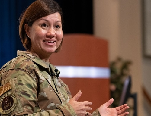 Chief Master Sergeant of the Air Force JoAnne S. Bass speaks at Maxwell Air Force Base, Ala., in September. The Air Force is rolling out a new part of the airman comprehensive assessment feedback tool that seeks to measure airmen's leadership qualities. (William Birchfield/Air Force)