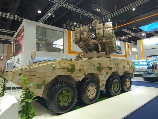 The Chinese Red Arrow 10 anti-tank missile system at IDEX 2019. (Jeff Martin/Staff)