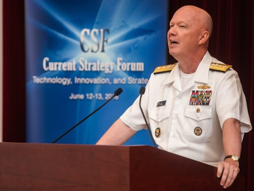 Rear Adm. Jeffrey A. Harley, then-president of the Naval War College, delivered a welcome address during the 69th annual Current Strategy Forum on June 12, 2018. (Edwin L. Wriston/Navy)