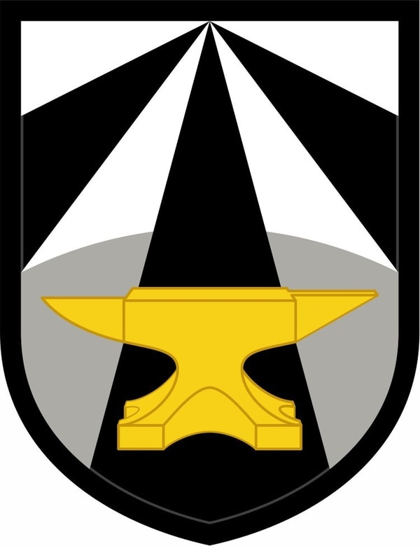 The Army Futures Command patch features an anvil and the service's traditional black-and-gold color scheme. (Army)