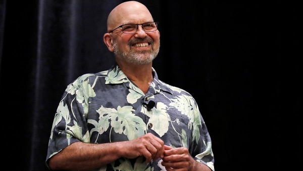 In this Thursday, May 24, 2018, photo, Boston Dynamics founder and CEO Marc Raibert smiles as he responds to a question during a robotics summit in Boston. (Charles Krupa/AP)