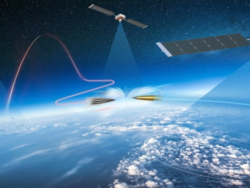 Concept art from Northrop Grumman shows a potential architecture for defending against hypersonic missiles. (Northrop Grumman)