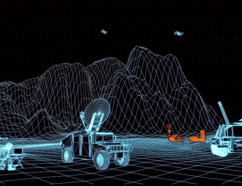 This still from a U.S. Army presentation at the virtual Association of the U.S. Army conference shows how the service wants to connect satellites to weapons systems to target deep-lying threats. (U.S. Army)