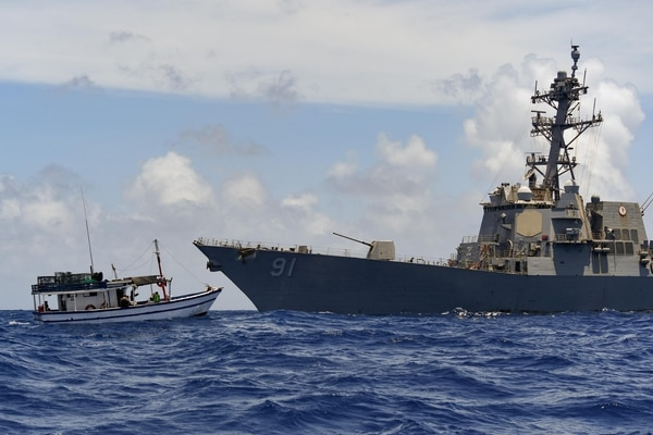 The destroyer Pinckney with an embarked U.S. Coast Guard Law Enforcement Detachment team conducts enhanced counternarcotics operations in U.S. Southern Command's area of responsibly. (MC3 Erick Parsons/U.S. Navy)