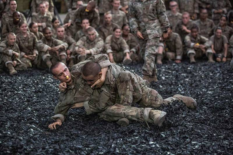 One of the final events prior to the trainees induction ceremony is combatives at Fort Jackson, S.C., on , Aug. 21, 2019.