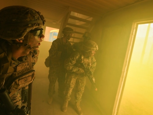 Marines with 2nd Battalion, 3rd Marines, look for enemy combatants during urban operations training at Marine Training Area Bellows, Hawaii, Sept. 29, 2017. (Sgt. Wesley Timm/Marine Corps)