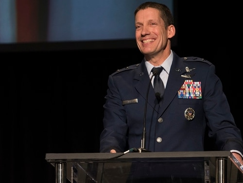 U.S. Air Force Maj. Gen. Robert Skinner, Deputy Commander of Air Force Space Command, speaks at the 2018 Rocky Mountain Cyberspace Symposium in Colorado Springs, Colorado, March 6, 2018. Skinner discussed the command's efforts to improve processes, develop personnel and push technology forward in the cybersecurity field. The symposium is a national forum for industry and government to collaborate to help meet challenges of cybersecurity, cyber readiness, and national defense. (Dave Grim/Air Force)