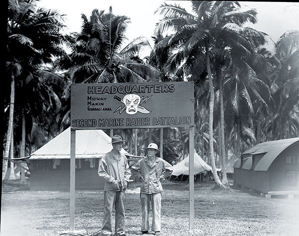 A sign lists the 2nd Raider campaigns fought within a six-month span of 1942.