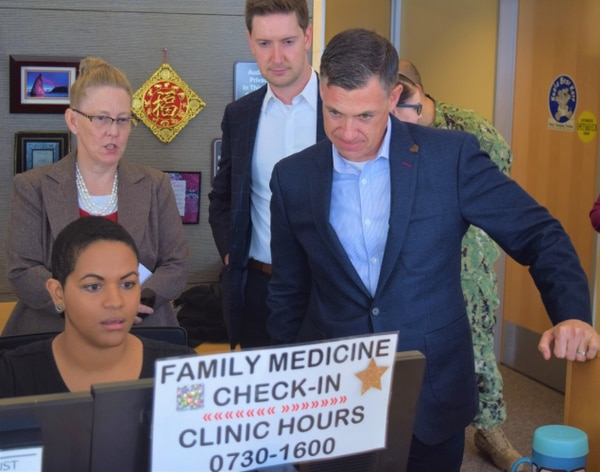 U.S. Rep. Jim Banks, an Indiana Republican, meets with Naval Hospital Bremerton Primary Care staff members Carla Williams, Family Medicine business manager (top) and Lorielle Jones, medical support assistant on Aug. 30. (Douglas H Stutz/Naval Hospital Bremerton Public Affairs)