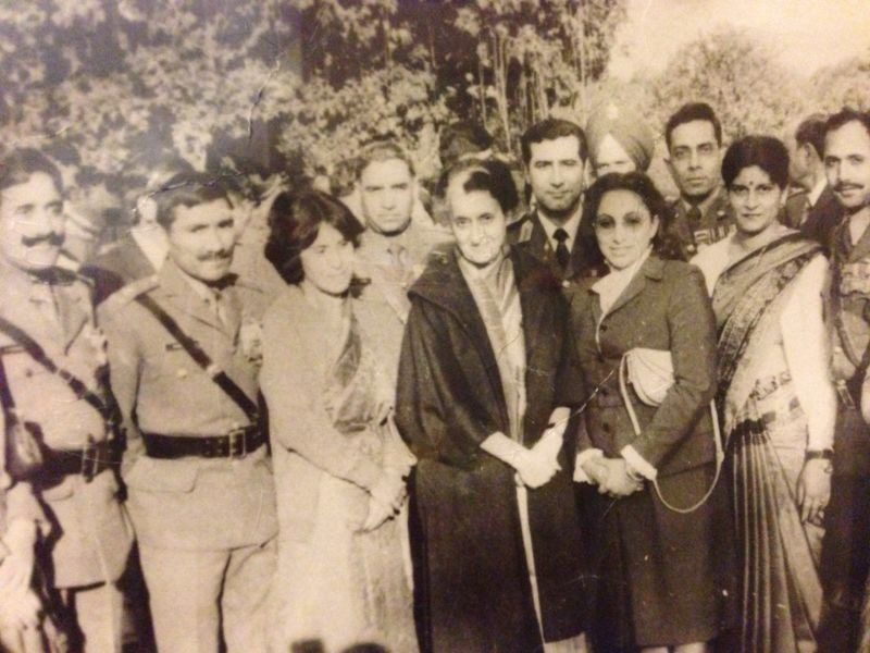 Layth Muneer (second from the left) stands with former Indian Prime Minister Indira Gandhi (center) and former chief of the Indian Army Gen. K.V. Krishna Rao (left). Muneer served as the Iraqi air attache to India from 1979-1983. (Photo courtesy Layth Muneer)