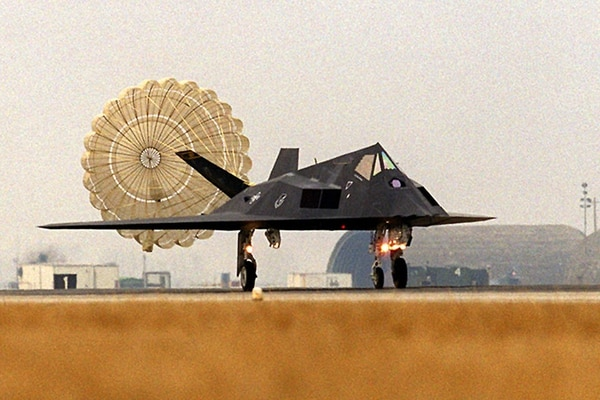 An F-117A arrives in Italy in 1999 to support operations over the former Republic of Yugoslavia and Kosovo. (U.S. Air Force)