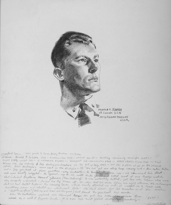 A 1943 Conté crayon on paper drawing of then- Lt. Cmdr. Arnold F. Schade by McClelland Barclay. A Naval Academy Class of 1933 graduate, at the time, Schade was the youngest submarine commander in the Navy and a hero in the underwater service. He was credited with sinking eight Japanese vessels during his first two patrols. (U.S. Naval History and Heritage Command)